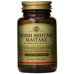Solgar Reishi Shiitake Maitake Mushroom Extract Vegetable Capsules, 50 Count