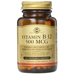 Solgar Vitamin B12 Vegetable Capsules, 500 mcg, 100 Count
