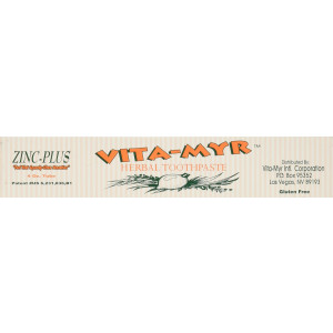 Vita-Myr Vitamyr 4 Oz Zinc+ Herbal Natural Toothpaste Safe and Effective Gluten Free Vegan