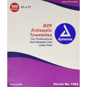 """Dynarex BZK Antiseptic Cleansing Towlettes, 100 packaged towlettes, 5""""x 7"""""""