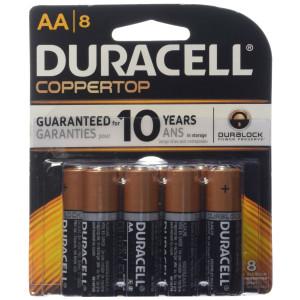 Duracell Coppertop AA Battery, 1.5 Volt, 8 ct