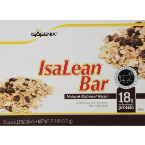 Isagenix IsaLean Bar Natural Oatmeal 18g Protein Bars (10 bars)