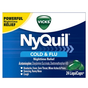 Vicks NyQuil Cold and Flu Nighttime Relief LiquiCaps 24 Count
