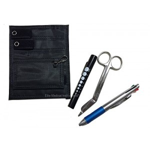 Elite Medical Instruments EMI Nurse BLACK Pocket Organizer 4 piece KIT - Pocket Organizer, Lister Bandage Scissor, LED Pupil