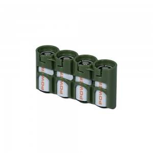 Storacell PowerPax CR123 Battery Caddy, Military Green, 4-Pack