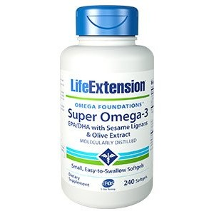 LIFE EXTENSION SUPER OMEGA 3 EPA DHA WITH SESAME LIGNANS AND OLIVE FRUIT EXTRACT 240