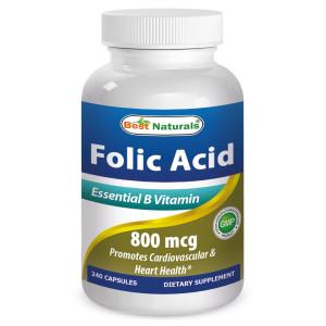 Folic Acid 800 mcg 240 Capsules by Best Naturals (Vitamin B9 (Folic Acid) Supplements) - Promotes