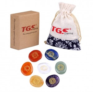 TGS Gems Healing Crystals - 7 Polished ,Engraved Chakras Holistic Health Care Pebble palm Products