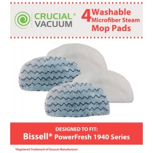 Crucial Vacuum 4 Bissell PowerFresh Steam Mop Pads, Fits All PowerFresh 1940 Series Models including 19402, 19404