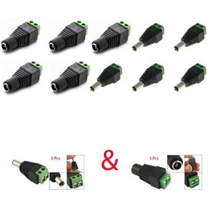 Triangle Bulbs (Pack Of 10) 5 Male Jack DC Power Adapter and 5 Female Jack DC Power Adapter Connector