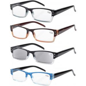 Eyekepper 4-pack Spring Hinges Rectangular Reading Glasses Includes Sun Readers +1.50
