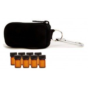 Aroma Designs Essential Oil Key Chain With 8 5/8 Dram (2 ml) Vials - Perfect Essential Oils Case for Travel - Fi