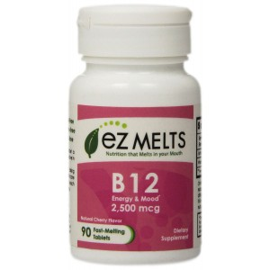 EZ Melts Vitamin B12 Fast Melting Tablets, Cherry, 90 Count