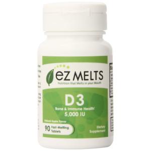 EZ Melts Vitamin D3 Fast Melting Tablets, Apple, 90 Count