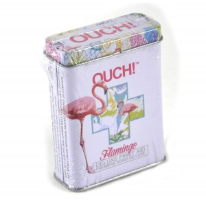 NPW Ouch! Flamingos - First Aid In A Tin - Plasters / Band Aids