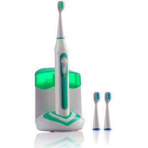 Xtech XHST-100 Oral Hygiene Ultra High Powered 40,000VPM, 5 Brushing Modes, Rechargeable Electric Ultrasonic Toothbrush with Charging Dock and Built-in UV Sanitizer, Includes 3 Brush Heads