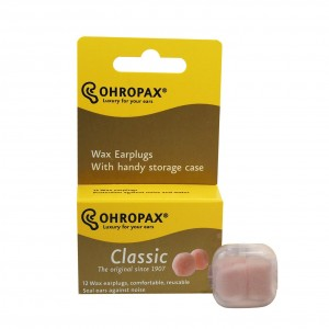 Ohropax Reusable Wax/cotton Ear Plugs - 12 Count with Clear Carrying Case