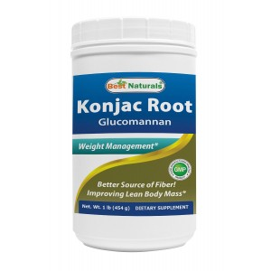 Glucomannan Konjac Root Powder 1lb by Best Naturals (Glucomannan 100% Pure Powder) - Supports Healthy Weight Management - Manufactured in a USA Based GMP Certified Facility and Third Party Tested for Purity. Guaranteed!!