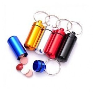 ChefLand Set of 4 - Aluminum Keychain Pill Case Container, Key Chain Medicine Box Drug Holder, Small colors