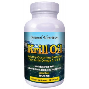 Optimal Nutrition LLC Krill Oil 1000mg Per Serving 100% Lemon Flavored Pure Cold Pressed Antarctic Krill Oil Softgel Cap