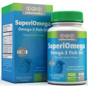 SuperiOmega, Triglyceride Omega-3 Fish Oil by Naturenetics; 1500mg Omega-3 Fatty Acids, 820mg EPA, 540mg DHA Per Serving, 3rd Party Tested, Natural Lemon Flavor, 1 Month Supply