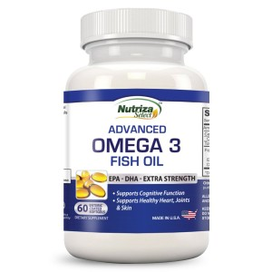 Nutriza Select Omega 3 Fish Oil - High Potency - EPA DHA Softgel Capsules - Concentrated, 1-Capsule Dose Contains