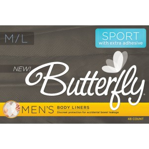 Butterfly Pads / Body Liners for Bowel Leaks Sport Version - Men's M/L 48 count