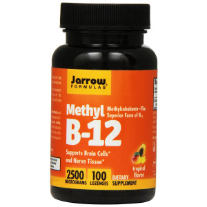 Jarrow Formulas Methyl B-12,Supports Brain Cells and Nerve Tissue, 2500 mcg, 100 Lozenges