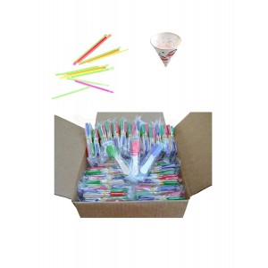 Perfect Stix Snow Cone Cup Kit - 50ct Snow Cone Kit with 50 Cups, 50 Neon Straws and 50 Snow Cone Candy Spoons (Pack of 150)