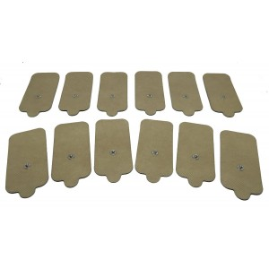 StickySTIMS Large Tan High Conductivity Reusable Self-Adhesive TENS Muscle Stimulation Electrode Pad with Snap