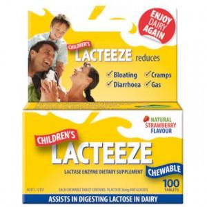 Gelda Scientific Lacteeze Childrens 100 chewable tablets Strawberry