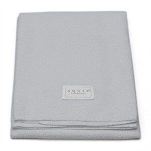 Aquis Lisse Crepe Microfiber Professional Long Hair Drying Towel (19 x 44 Inches) - Light Grey