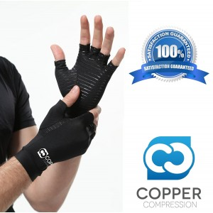 Copper Compression Arthritis Gloves. GUARANTEED Highest Copper Content! Best Copper Infused Fit Gloves For Carpal Tunnel, Computer Typing, And Everyday Support For Hands. (1 PAIR - Medium)