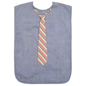Men's Adult Bib, Chambray with Striped Tie, Frenchie Mini Couture