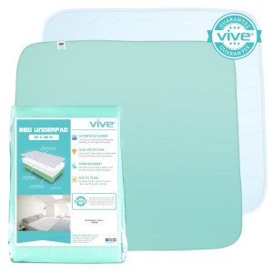 Washable Incontinence Pad by Vive - Bed Pad for Men, Women, and Children - Waterproof Mattress Protector - Best Reusable Washable Bed Underpad - Vive Guarantee
