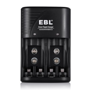 EBL Quality 802 Rechargeable Battery Charger for 9V AA AAA Ni-MH Ni-CD Rechargeable Batteries [3 i