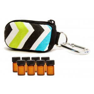 Aroma Designs Stylish Essential Oil Key Chain with 8 5/8 Dram (2 ml) Vials and Blank Labels - Fits Easily in a P