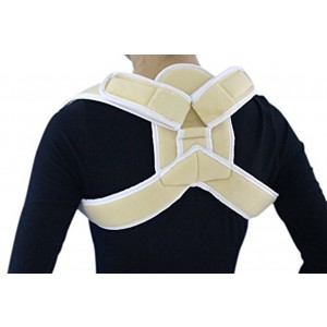 Faswin Perfect Elastic Posture Aid Shoulder Posture Support Brace and Posture Support Strap,Beige