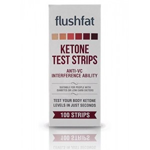 FlushFat Ketone Test Strips - 100 Count - Accurate Results to measure Ketosis. Ideal for People on Ketogeni