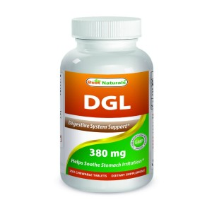 DGL Chewable 380 mg 180 Tablets by Best Naturals - Manufactured in a USA Based GMP Certified and F