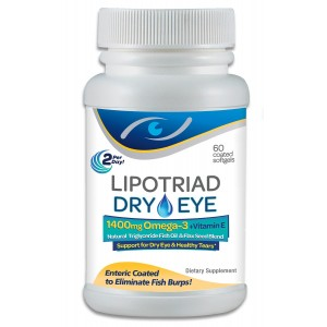 Lipotriad Dry Eye Formula - 1400mg Omega-3 Supplement – With 1400mg Natural Triglyceride Fish Oil + Organic Flax Seed and Vitamin E - Support for Natural Tear Production - 60 Enteric Coated Softgels