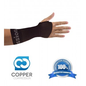 Copper Compression Recovery Wrist Sleeve, GUARANTEED Highest Copper Content. This Wrist Support / Brace Helps With Symptoms Of Carpal Tunnel, RSI, Arthritis, Tendonitis, Sprains and More! (1 Sleeve)