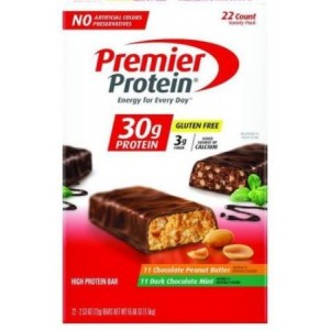 Premier High Protein 2.53 Oz Bars; 11 Chocolate Mint, 11 Peanut Butter=22 Total Bars