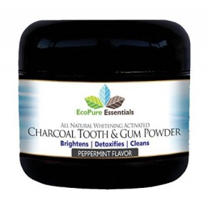 EcoPure Essentials All Natural Whitening Activated Charcoal Tooth and Gum Powder with Bentonite Clay. Alternative to