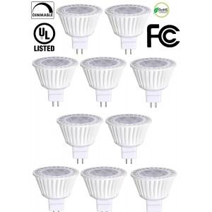 Bioluz LED 10 Pack MR16 50W Halogen Equivalent Dimmable 7w 3000K 12v UL listed
