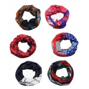 WOVTE 6 PCS Assorted Seamless Outdoor Sport Bandanna Headwrap Scarf Wrap Face Tube Mask