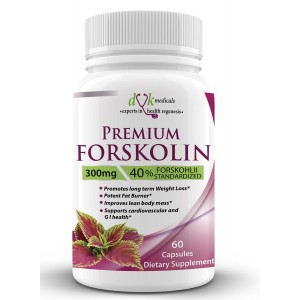 Premium Forskolin 100% Pure Coleus Forskohlii Extract from DVK Medicals : 40 % Standardized, Pure Forskolin Extract for Weight Loss, Rapid Belly Fat Burner, 2 months supply