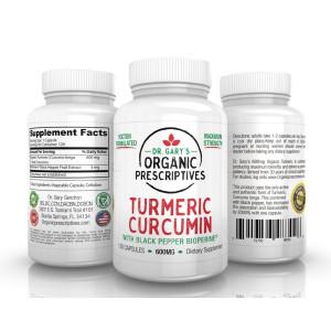 Dr. Gary's Organic Prescriptives Turmeric Curcumin Organic with Black Pepper Bioperine EXTRA STRENGTH Dr. Gary's 600mg- 120 Capsule