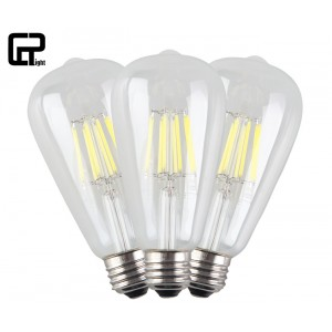 CRLight 8W Edison Style Vintage LED Filament Light Bulb, 6000K Daylight (Cold White) 800LM, E26 Medium Base Lamp, ST21(ST64) Antique Shape, Clear Glass Cover, 80W Equivalent, Non-dimmable, 3 Pack