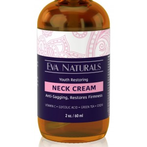 Neck Firming Cream by Eva Naturals (2 oz) - Firming Lotion for Sagging Neck, Face, and Décolleté - Fights Wrinkles and Promotes Elasticity and Youthful Skin - With Vitamin C, CoQ10 and Hyaluronic Acid